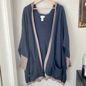 Soft surroundings navy and tan hooded cardigan